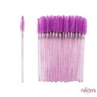 Щеточки для расчесывания ресниц фиолетовые с блестками, 50 шт. в упаковке