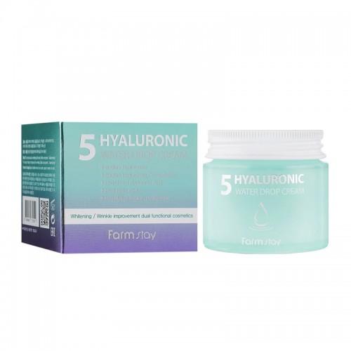 Крем для лица Farmstay Hyaluronic 5 Water Drop Cream увлажняющий с 5 видами гиалуроновой кислоты, 80 мл, фото 1, 291.00 грн.