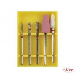 Набор насадок для тонкой кутикулы Set-5R, алмазные, полировщик силиконовый, керамическая, 5 шт.