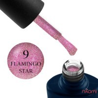 Гель-лак NUB Night Light 09 Flamingo Star розовая орхидея с блестками и шиммерами, светоотражающий, 8 мл