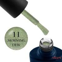 Гель-лак NUB Night Light 11 Morning Dew травянисто-салатовый с блестками и шиммерами, светоотражающий, 8 мл