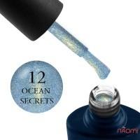 Гель-лак NUB Night Light 12 Ocean Secrets голубой с золотистым отливом с блестками и шиммерами, светоотражающий, 8 мл