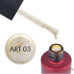 Топ для гель-лаку без липкого шару Kodi Professional No Sticky Top Coat Art 03 з золотими пластівцями, 7 мл