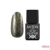 Топ для гель-лака без липкого слоя Moon Full Top Glitter 02 Gold с золотым глиттером, 8 мл