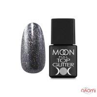 Топ для гель-лака без липкого слоя Moon Full Top Glitter 03 Silver с серебряным глиттером, 8 мл