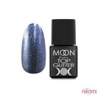 Топ для гель-лака без липкого слоя Moon Full Top Glitter 04 Blue с синим глиттером, 8 мл