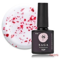Топ для гель-лака без липкого слоя Saga Professional Top Leaf Red с красными хлопьями потали, 8 мл