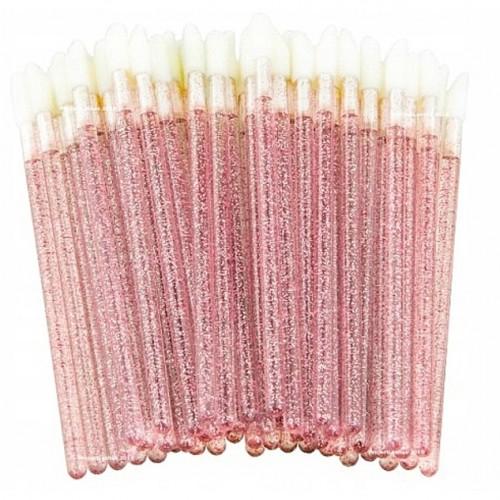 Одноразовые кисточки для макияжа, аппликатор для губной помады, макробраши розовые с блестками в пакете, 50 шт, фото 1, 60.00 грн.