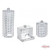 Набір органайзерів для зберігання ватных дисків і паличок BoxUp FT-028 Diamond, пластик, 3 шт.