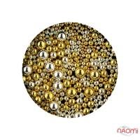 Бульонки для украшения ногтей металлические 0,5-2 мм, цвет золото, серебро