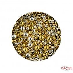 Бульонки для декорування нігтів металеві 0,5-2 мм, колір золото, срібло