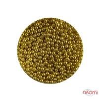 Бульонки для прикраси нігтів Naomi 01, металеві, колір золото 1,5 мм, 4 г