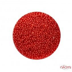 Бульонки для украшения ногтей Naomi 01, стеклянные, цвет красный 1 мм, 4 г