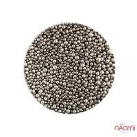 Бульонки для украшения ногтей Naomi 05, стеклянные, цвет темно-серый 1 мм, 4 г