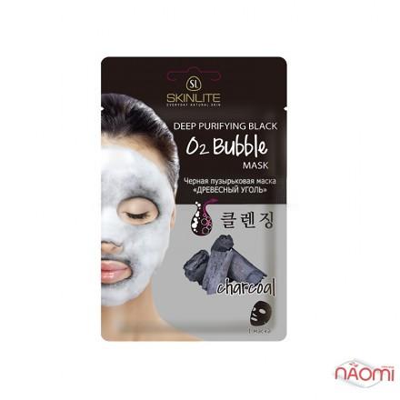 Черная маска для лица Skinlite Древесный уголь, пузырьковая, 20 г, фото 1, 70.00 грн.