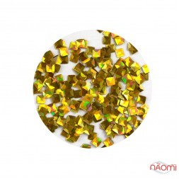 Декор для нігтів KY-3D-02 квадратики в баночці, колір золото
