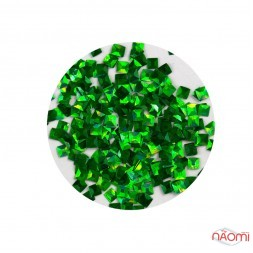Декор для нігтів KY-3D-06 квадратики в баночці, колір зелений