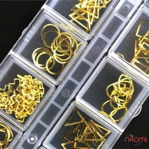 Декор для ногтей, золотые оправы разных форм, в наборе 12 шт.