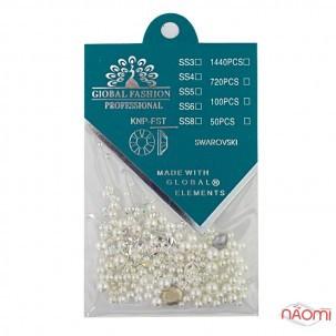Набір декору для нігтів перлини різних розмірів, колір асорті, 12 шт.