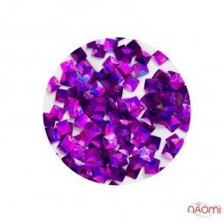 Декор для ногтей KY-3D-08 квадратики в баночке, цвет фиолетово-розовый