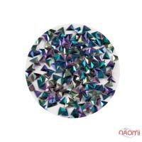 Декор для ногтей TR-3D-21 треугольник (чешуя дракона) в баночке, цвет фиолетово-зеленый