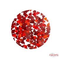 Декор для ногтей KSR-01 сердечки в баночке, цвет красный