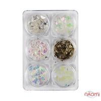 Декор для ногтей, фольга битое стекло, цвет белый перламутр, серебро, в наборе 6 шт.