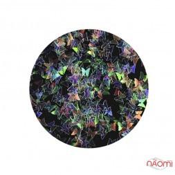 Декор для ногтей Born Pretty блестки, бабочки, цвет перламутр