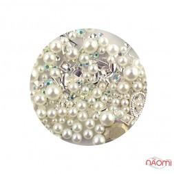 Декор для нігтів Global Fashion перлини, фігурки, колір білий
