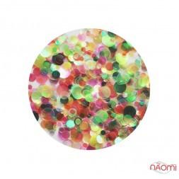 Декор для нігтів конфетті (каміфубукі), колір прозорий рожево-зелений