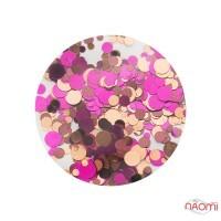 Декор для ногтей конфетти (камифубуки) KF 045, фиолетовый, коричневый, бежевый микс