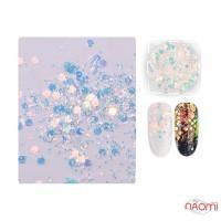 Декор для ногтей Misscheering 03, блестки, конфетти перламутровые, цвет бирюзово-голубой