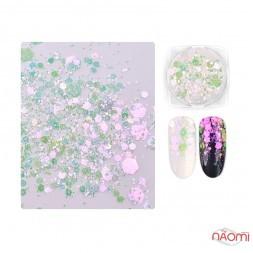 Декор для ногтей Misscheering 05, блестки, конфетти перламутровые, цвет зеленый