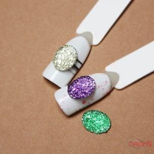 Декор для ногтей, разноцветные камни, цвет лиловый, зеленый, серебро, 3 шт.