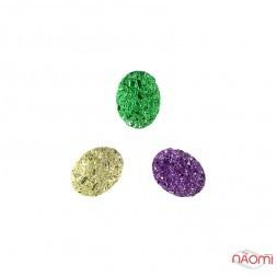 Декор для нігтів, різнокольорові камінці, колір ліловий, зелений, срібло, 3 шт.