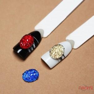 Декор для нігтів, різнокольорові камінці, колір синій, червоний, золото, 3 шт.