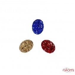 Декор для ногтей, разноцветные камни, цвет синий, красный, золото, 3 шт.