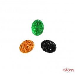 Декор для нігтів, різнокольорові камінці, колір зелений, чорний, бронза, 3 шт.