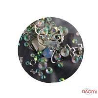 Декор для ногтей стразы, жемчуг, камушки, металлические фигурки, цвет серебро