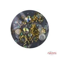 Декор для ногтей стразы, жемчуг, камушки, металлические фигурки, цвет золото