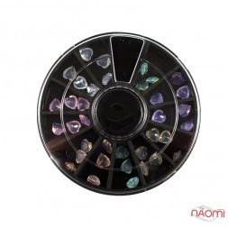 Декор для нігтів у контейнері Карусель сердечка напівпрозорі Fabiyan, колір асорті