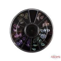 Декор для ногтей в контейнере Карусель капельки полупрозрачные Fabiyan, цвет ассорти