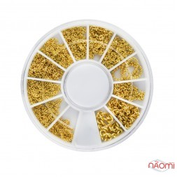 Декор для нігтів у контейнері Карусель ланцюжки різних розмірів, колір золото