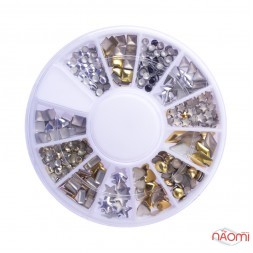 Декор для ногтей в контейнере Карусель фигурки цвет золото, серебро