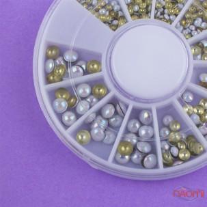 Декор для нігтів в контейнері Карусель металеві заклепки, колір перламутровий