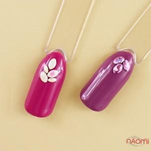 Декор для нігтів у контейнері Карусель овали голографічні Fabiyan, колір білий, рожевий