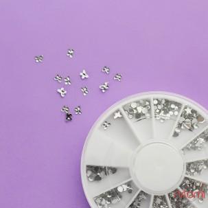 """Декор для нігтів в контейнері """"Карусель"""" стрази фігурки, сріблясті"""