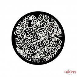 Диск для стемпинга YZWLE-17 Розы, цветы
