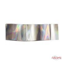 Фольга для ногтей переводная, для литья №13 серебро голограмма, L-1 м ширина 2,5 см