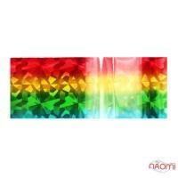 Фольга для ногтей переводная, для литья, цветная радуга, битое стекло L= 1 м, ширина 4 см